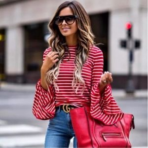 Long Ruffled Sleeve Striped Blouse